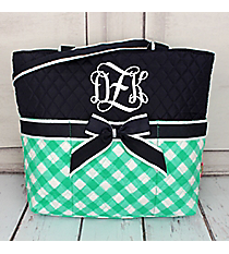 Mint and White Diamond Gingham Quilted Diaper Bag with Navy Trim #CHE2121-MINT