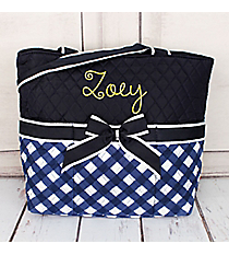 Navy and White Diamond Gingham Quilted Diaper Bag #CHE2121-NAVY