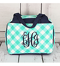Mint and White Diamond Gingham Insulated Bowler Style Lunch Bag #CHE255-MINT