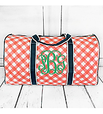 "Coral and White Diamond Gingham Quilted Duffle Bag with Navy Trim 21"" #CHE2626-CORAL"