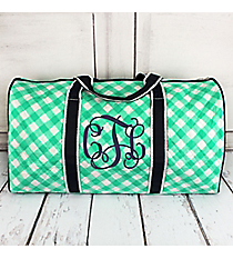"Mint and White Diamond Gingham Quilted Duffle Bag with Navy Trim 21"" #CHE2626-MINT"