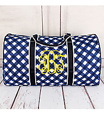 "Navy and White Diamond Gingham Quilted Duffle Bag 21"" #CHE2626-NAVY"