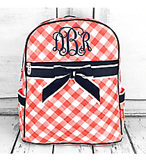 Coral and White Diamond Gingham Quilted Backpack with Navy Trim #CHE2828-CORAL