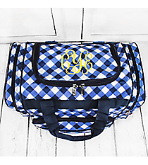 "Navy and White Diamond Gingham Duffle Bag 17"" #CHE417-NAVY"