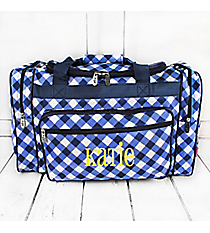 "Navy and White Diamond Gingham Duffle Bag 20"" #CHE420-NAVY"