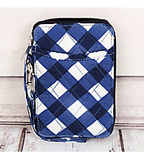 Navy and White Diamond Gingham Quilted Wristlet #CHE495-NAVY