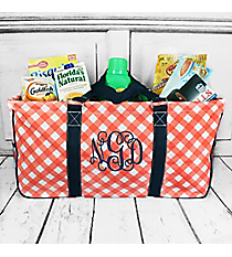 Coral and White Diamond Gingham with Navy Trim Collapsible Haul-It-All Basket with Mesh Pockets #CHE603-CORAL