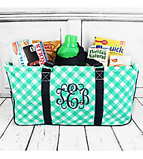Mint and White Diamond Gingham with Navy Trim Collapsible Haul-It-All Basket with Mesh Pockets #CHE603-MINT