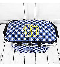 Navy and White Diamond Gingham Collapsible Insulated Market Basket with Lid #CHE658-NAVY