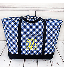 Navy and White Diamond Gingham Large Tote Bag #CHE831-NAVY