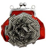 Red Kiss-Lock Clutch Purse with Houndstooth Flower #FMZ410-RED