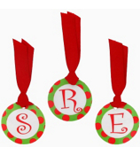 Green with Red Polka Dot Initial Christmas Bag Tag - Choose Your Initial