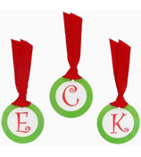 Green with Red Initial Christmas Bag Tag - Choose Your Initial