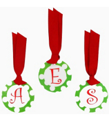 Green with White Polka Dot Initial Christmas Bag Tag - Choose Your Initial