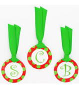 Red with Green Polka Dot Initial Christmas Bag Tag - Choose Your Initial