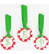 Red with White Polka Dot Initial Christmas Bag Tag - Choose Your Initial