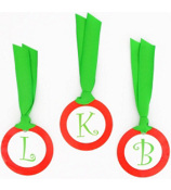 Red with Green Initial Christmas Bag Tag - Choose Your Initial