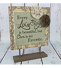 """12.5"""" x 9.5"""" Flower Accented """"Love Story"""" Tabletop Sign #CSEM0006"""
