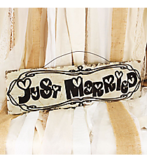 5.5 x 19.25 'Just Married' Wall Sign #CSET0151