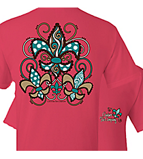 Three Scalloped Fleur de Lis Coral Silk T-Shirt *Choose Your Size