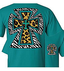 Leopard and Zebra Cross Jade T-Shirt *Choose Your Size