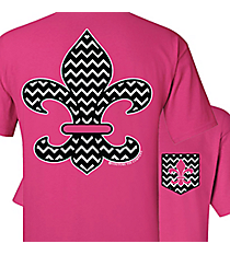 Chevron Fleur de Lis with Faux Front Pocket Hot Pink T-Shirt *Choose Your SizeFaux Front Pocket Hot Pink T-Shirt #SC246PK/CT246HP *Choose Your Size