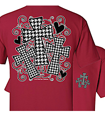 Three Houndstooth Crosses Cardinal Red T-Shirt *Choose Your Size