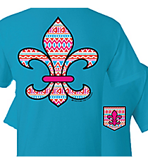 Aztec Fleur de Lis with Faux Front Pocket Sapphire T-Shirt *Choose Your Size
