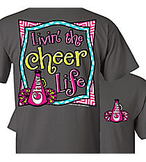 """Livin' the Cheer Life"" Dark Heather T-Shirt *Choose Your Size"