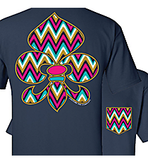 Gypsy Chevron Fleur de Lis with Faux Front Pocket Navy T-Shirt *Choose Your Size