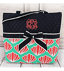 Pearly Paradise Quilted Diaper Bag with Navy Trim #CW2121-NAVY