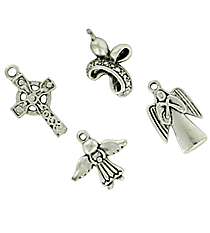 12 Silvertone Angels & Crosses Charms #68/45565