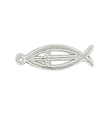 12 Silvertone Christian Fish Charms #68/45679