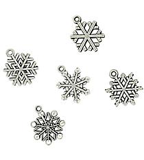 12 Silvertone Snowflake Charms #68/46142