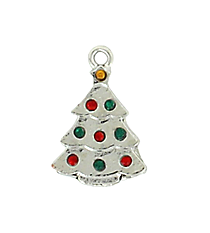 12 Rhinestone Accented Christmas Tree Charms #68/46146