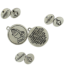 12 Silvertone Serenity Prayer Charms #68/46244