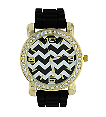 Black Chevron Face Jelly Watch with Crystal Surround #10255ZZG-BLACK