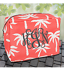 Coral Paradise Palms Cosmetic Case #YAO613-CORAL