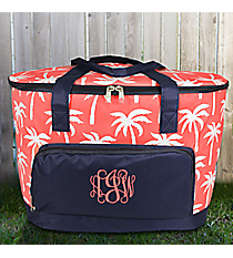 Coral Paradise Palms and Navy Cooler Tote with Lid #YAO89-CORAL