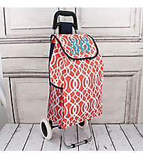 Coral Trellis Rolling Shopper Tote with Navy #20003BIQ-CORAL
