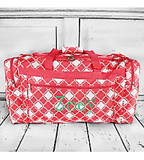 "Coral Pink and White Quatrefoil Duffle Bag 22"" #D22-15-P"