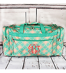 Mint Green and Natural Quatrefoil Duffle Bag #D22-15-TO