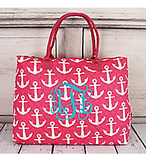 Pink with White Anchors Quilted Large Shoulder Tote #DDP3907-PINK