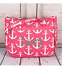 Pink with White Anchors Quilted Shoulder Tote #DDT594-PINK
