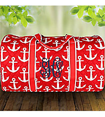 """21"""" Red with White Anchors Quilted Duffle Bag #DDR2626-RED"""