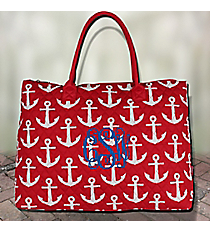 Red with White Anchors Quilted Large Shoulder Tote #DDR3907-RED