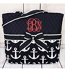 Navy with White Anchors Quilted Diaper Bag #DDT2121-NAVY