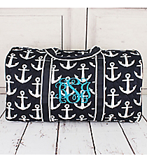 "21"" Navy with White Anchors Quilted Duffle Bag #DDT2626-NAVY"