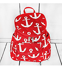 Red with White Anchors Quilted Petite Backpack #DDT286-RED