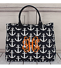 Navy with White Anchors Quilted Large Shoulder Tote #DDT3907-NAVY